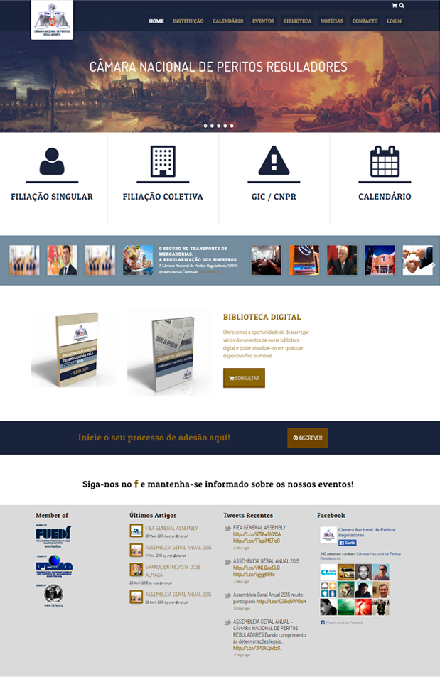 Website Câmara Nacional de Peritos Reguladores