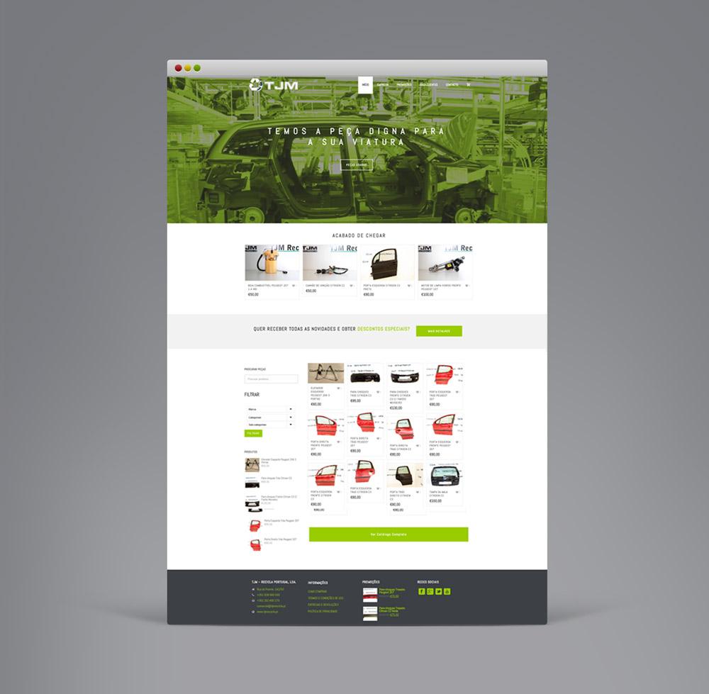 Website TJM Recicla Portugal - peças automóvel