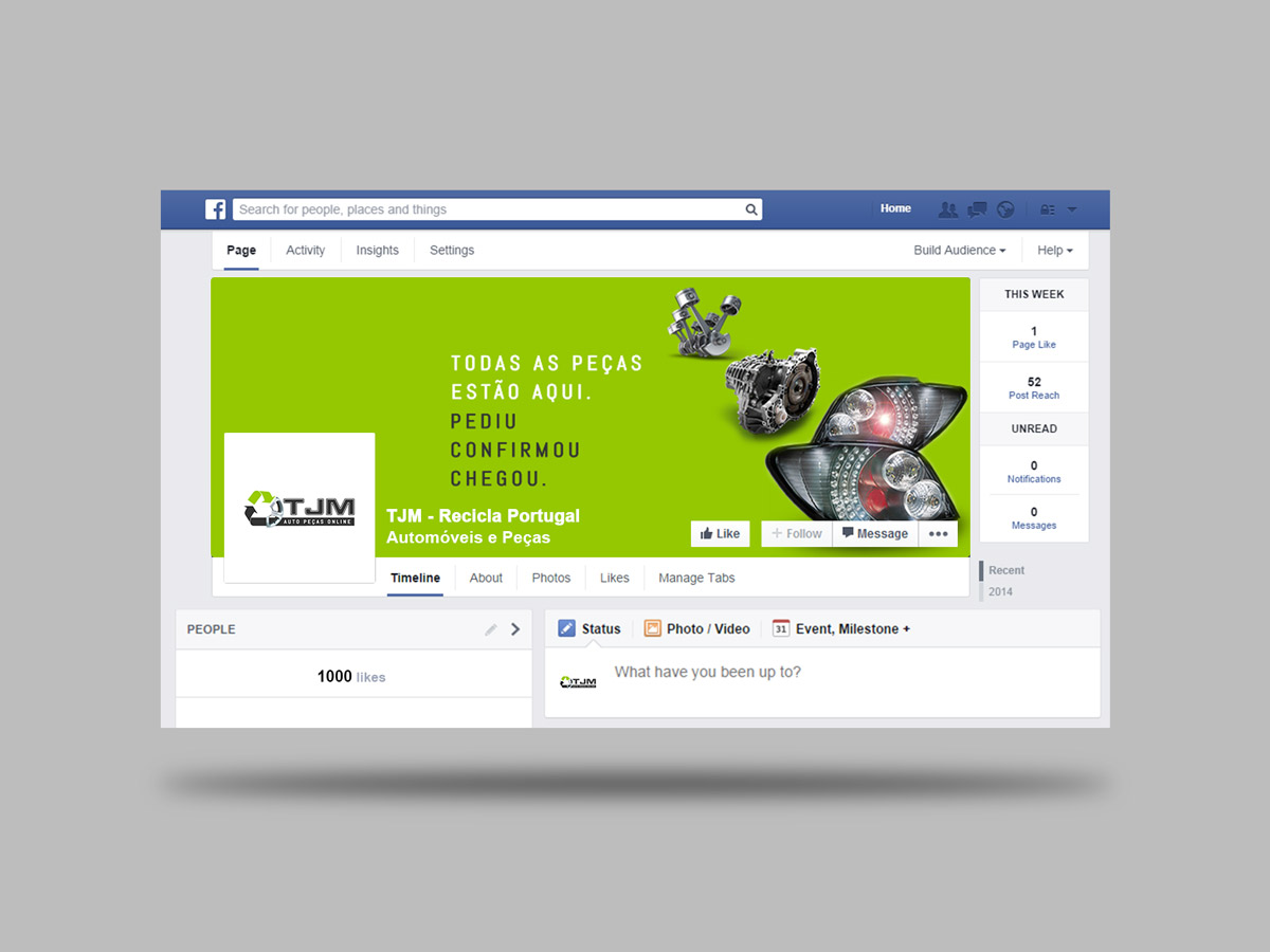 Página facebook TJM Recicla Portugal - peças automóvel