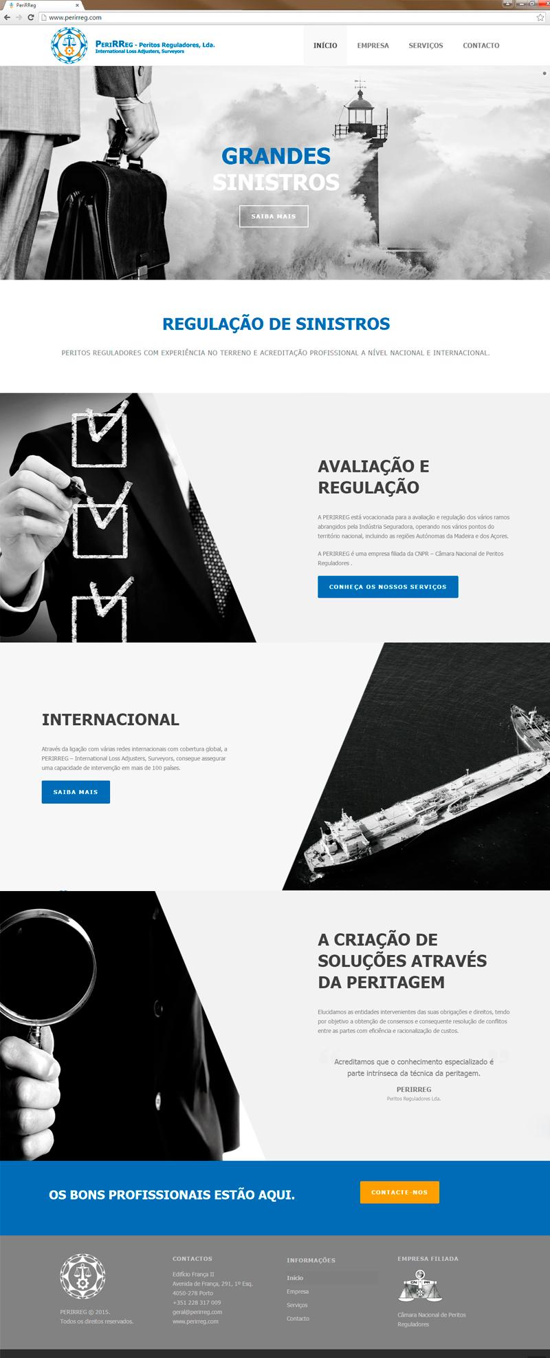 Website Perirreg Peritos Reguladores página inicial versão Português