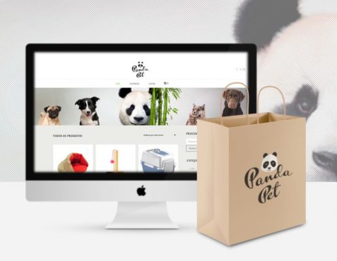 Panda Pet, petshop online website MacBook e saco de papel
