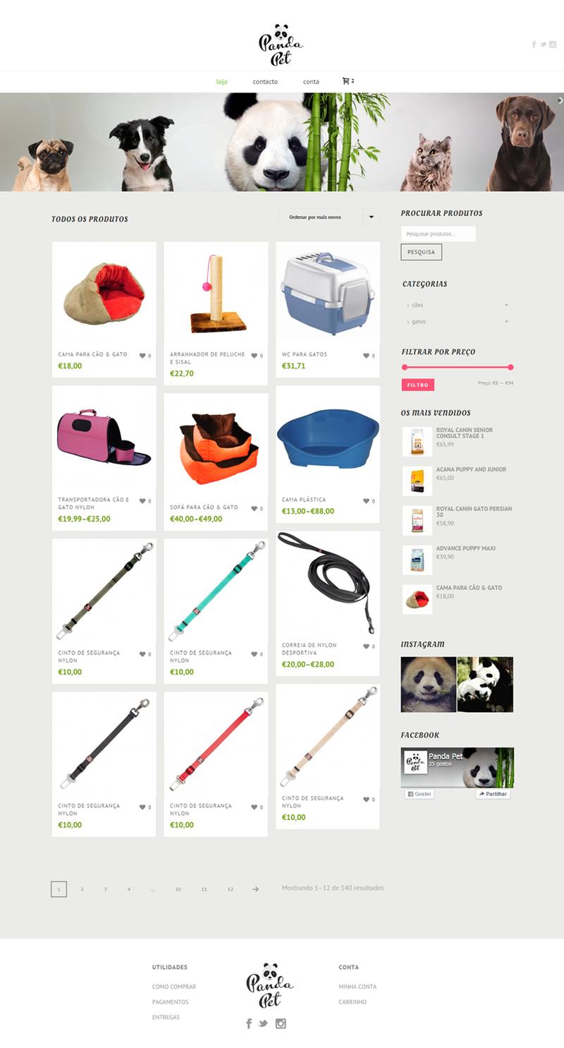 Panda Pet, petshop online website