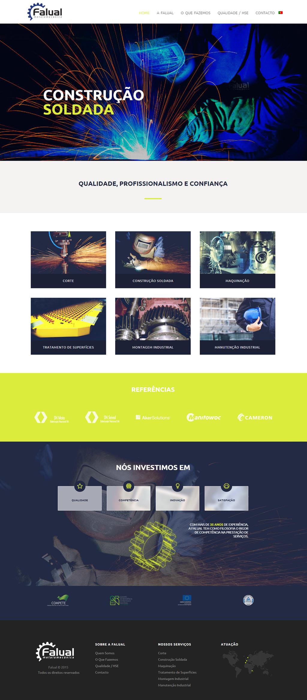 Website Falual Metalomecânica página inicial, fotos de soldadores