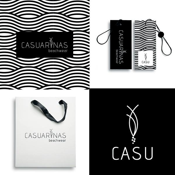 Logo Casuarinas beachwear estampa padrão calçada copacabana, preto e branco