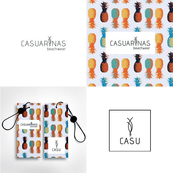 Casuarinas beachwear desenho logótipo, etiquetas para roupa, conceito abacaxi padrão