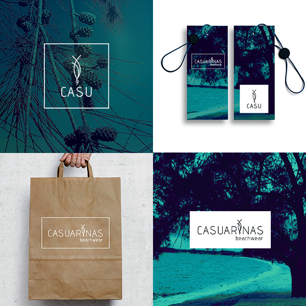 Casuarinas beachwear desenho logótipo, etiquetas para roupa, saco de papel