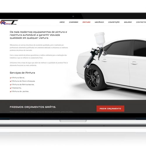 Website Ribeiros Racing Team no MacBook
