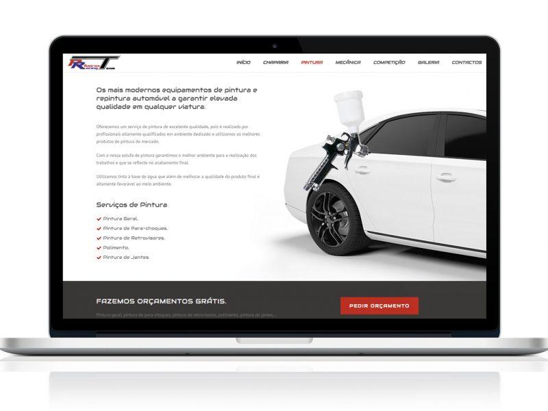 Website Ribeiros Racing Team no MacBook