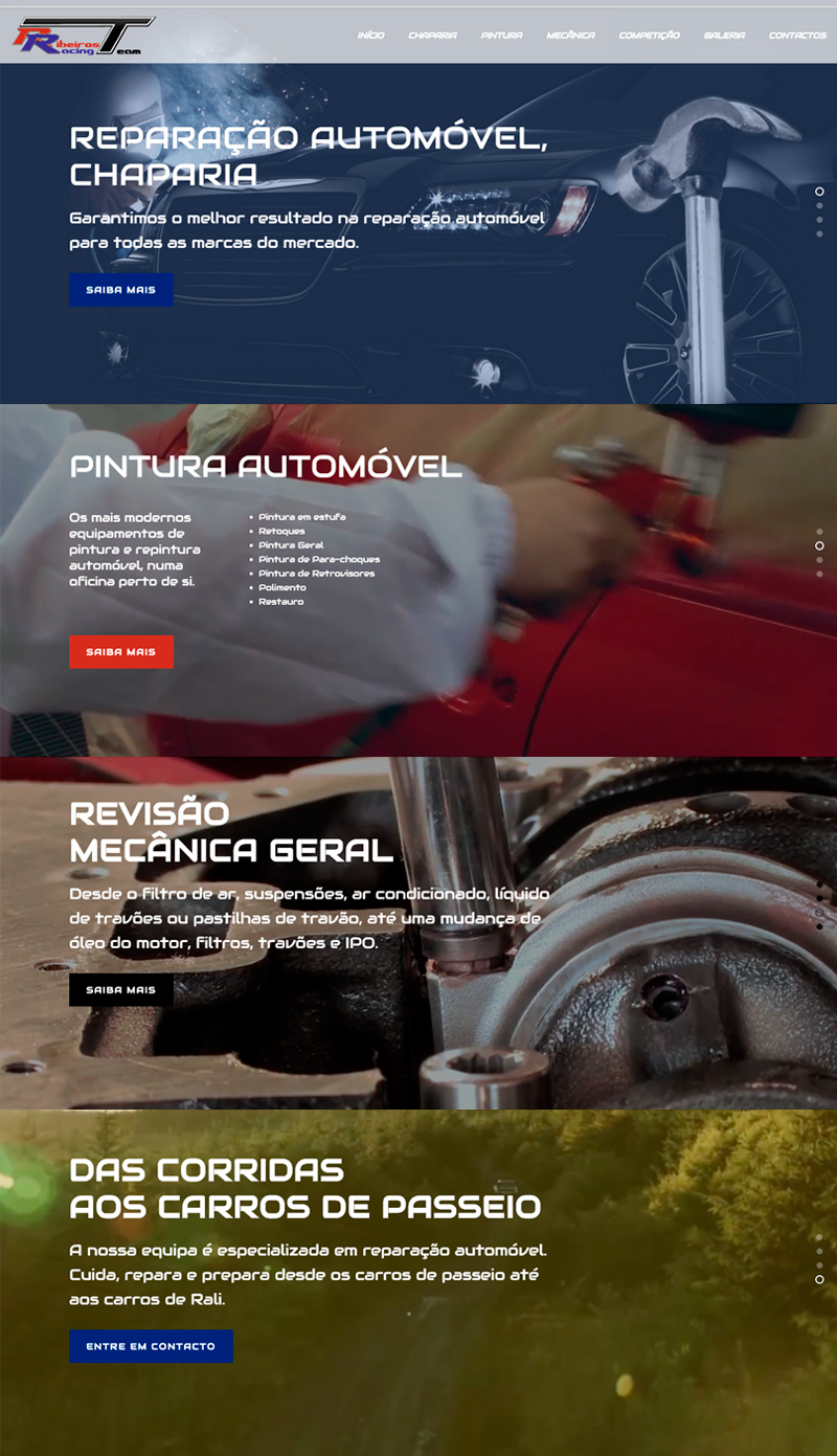 Website Ribeiros Racing Team, chaparia, pintura, mecânica, das corridas aos carros de passeio