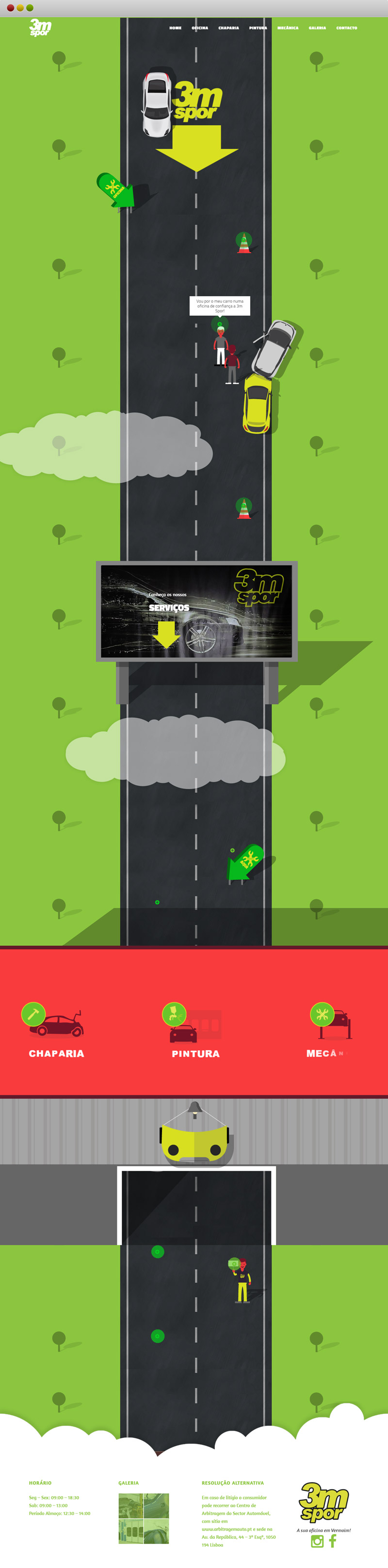 3M Spor oficina Website animado uma estrada que passa pela oficina onde o carro passeia do inicio do site ao fim