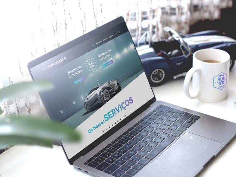PMA Soares Website e logo na caneca