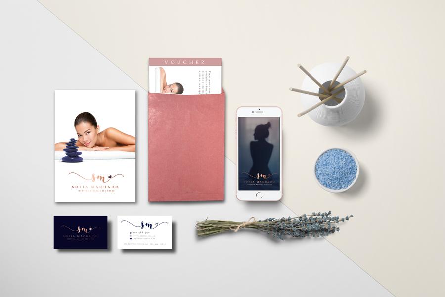 Sofia Machado flyers, cartão de visita, voucher, post facebook